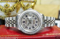 Rolex Ladies Rolex Oyster Perpetual Datejust Stainless Steel Diamond Dial And Bezel