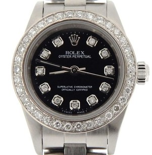 Rolex Ladies Rolex Stainless Steel Oyster Perpetual No-date Watch Diamond Black 76080