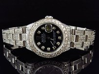 Rolex Ladies Stainless Steel Rolex Datejust Oyster Watch Ct Diamond Black Mop Dial