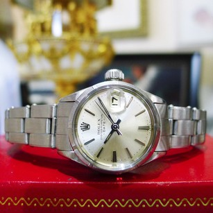 Rolex Ladies Vintage Rolex Oyster Perpetual Date 6519 Stainless Steel Watch Circa 1967