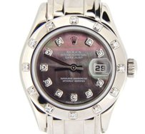 Rolex Lady Rolex 18k White Gold Datejust Pearlmaster Tahitian Black Mop Diamond 80319