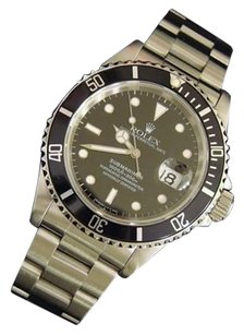 Rolex Mens Rolex Submariner Date Stainless Steel Watch Oyster Band Black Dial Bezel