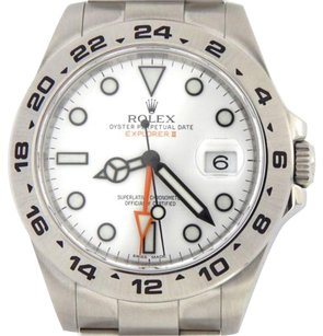Rolex Men Rolex Stainless Steel Explorer Ii Watch 42mm Orange Hand Wwhite Dial 216570
