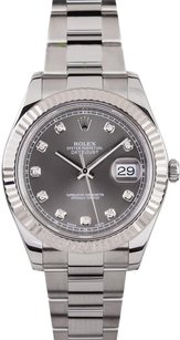 Rolex Men's DateJust II Stainless Steel Slate Diamond Dial Watch 116334