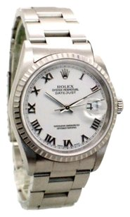 Rolex Rolex Datejust 16220 Stainless Steel White Roman Dial Men's Watch