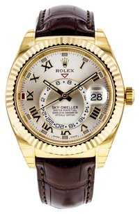 Rolex Men's Sky-Dweller 326138 42mm Watch in 18K Yellow Gold on Brown Leather Strap RLXSKDY