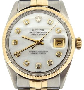 Rolex Mens Rolex 14k Goldstainless Steel Datejust Jubilee Wwhite Mop Diamond Dial