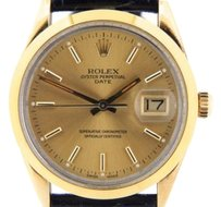 Rolex Mens Rolex 14k Yellow Gold Shell Date Watch Wchampagne Dial 15505