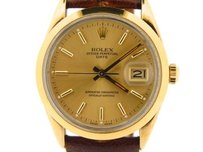 Rolex Mens Rolex 14k Yellow Gold Shell Date Watch Wgold Dial 15505