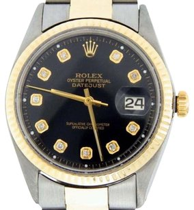 Rolex Mens Rolex 14k Yellow Goldstainless Steel Datejust Wblack Diamond Dial 1601