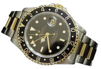 Rolex Mens Rolex 2tone 18k Yellow Goldsteel Gmt-master Ii Watch Oyster Black 16713