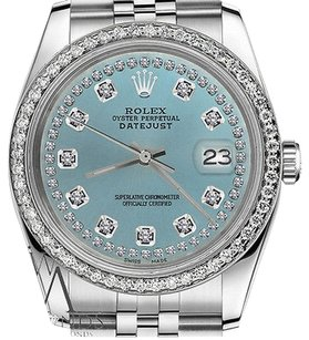 Rolex Mens Rolex 36mm Datejust Ice Blue String Diamond Accent Dial Watch