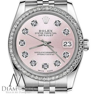 Rolex Mens Rolex 36mm Datejust Stainless Steel Metallic Pink Diamond Dial Watch