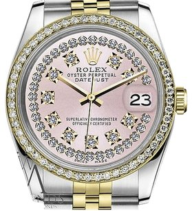 Rolex Mens Rolex 36mm Datejust Tone Pink String Diamond Dial With Vintage