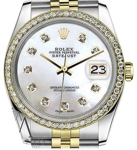 Rolex Mens Rolex 36mm Datejust Tone White Mop Mother Of Pearl With Diamond