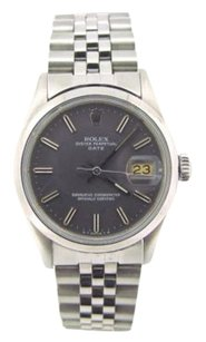 Rolex Mens Rolex Date Stainless Steel Watch Wslate Gray Dial Quickset 15000