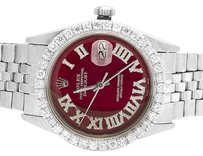 Rolex Mens Rolex Datejust 36MM Stainless Steel Red Dial Diamond Watch 4.1 Ct