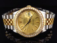 Rolex Mens Rolex Mm Date Tone 18kstainless Steel White Diamond Watch Ct