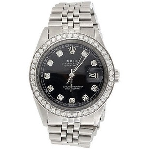 Rolex Mens Rolex Mm Datejust Jubilee Stainless Steel Black Diamond Watch 2.20 Ct.