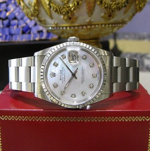 Rolex Mens Rolex Oyster Perpetual Datejust Diamond Mother-of-pearl Dial Steel Watch