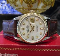 Rolex Mens Rolex Oyster Perpetual Datejust Mother Of Pearl Diamond Dial Watch