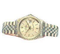 Rolex Mens Rolex Oyster Perpetual Datejust Stainless Steel Silver Dial Diamond Bezel
