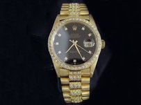Rolex Mens Rolex Solid 18k Yellow Gold Datejust Watch Black Diamond 16238