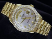Rolex Mens Rolex Solid 18k Yellow Gold Day-date President White Mop Full Diamond 1803