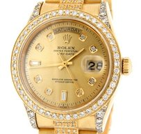 Rolex Mens Rolex Solid 18k Yellow Gold Day-date Super President 5.5ct Diamond 18038
