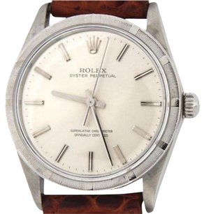 Rolex Mens Rolex Stainless Steel Oyster Perpetual No-date Watch Silver Brown 1007