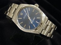 Rolex Mens Rolex Stainless Steel Oyster Perpetual Watch Woyster Band Blue Dial 1002