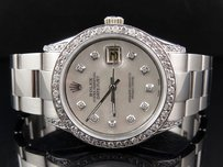 Rolex Mens Stainless Steel Rolex Datejust Oyster Mm Mother Pearl Watch Ct