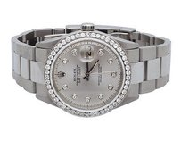 Rolex Mens Stainless Steel Rolex Datejust Oyster Mm Silver Dial Diamond Watch 2.5ct