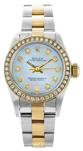 Rolex No Date 18K/SS Steel Custom MOP Diamond Ladies Watch