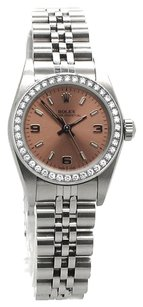 Rolex Oyster Perpetual No Date Stainless Steel Custom Diamond Ladies Watch