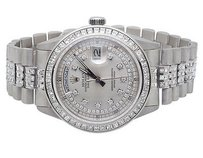 Rolex Pre-owned Mens Rolex President Day-date 18k White Gold Diamond Watch Ct