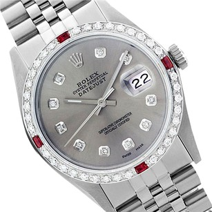 Rolex Preowned Datejust 16014 Grey Diamond Ruby Mens Watch 36mm