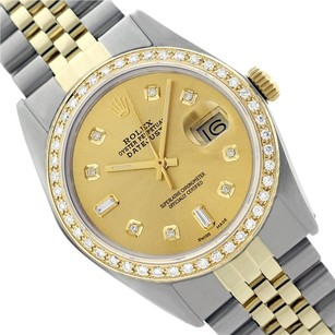 Rolex Preowned Datejust Champagne Diamond Mens Watch 36mm 16013