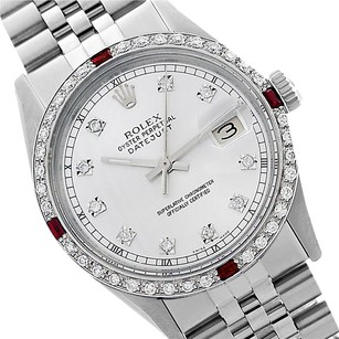 Rolex Preowned Datejust Silver Diamond Mens Watch 36mm 1601