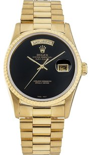 Rolex Rolex Day-Date 18038 18K Yellow Gold Black Dial Men's Presidential Watch (SQ)