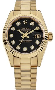 Rolex Rolex 18K Original Diamond Black Dial Ladies Presidential Watch