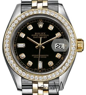 Rolex Rolex 26 Black Baguette Diamond 6 _ 9 2Tone 18K Yellow Gold Fluted Bez