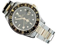Rolex Rolex 2tone 18k Goldstainless Steel Gmt-master Ii Watch Oyster Black 16713