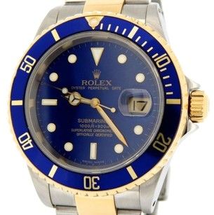 Rolex Rolex 2tone 18k Yellow Gold Stainless Steel Submariner Date Blue Sub Sel 16613