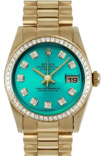Rolex ROLEX 31mm Mid-Size 18k Yellow Gold Pastel Green Diamond Dial President Watch