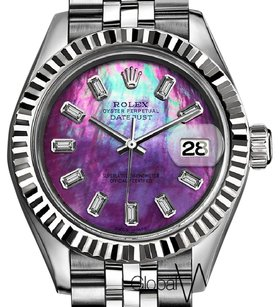 Rolex Rolex 31MM Purple Rainbow Pearl w/ Diamond Baguette Numbers Datejust