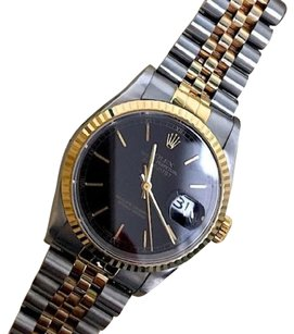 Rolex Rolex 36mm Large 18K Yellow Gold & Steel Two-tone Black Face