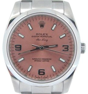 Rolex Rolex Air King Mens Stainless Steel Watch Oyster Band Salmon Arabic Dial 114200