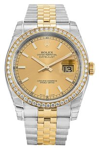 Rolex ROLEX DATEJUST 116243 STEEL AND GOLD CUSTOM DIAMOND MEN'S WATCH