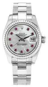 Rolex ROLEX DATEJUST 179174 STAINLESS STEEL CUSTOM RUBY DIAL WATCH